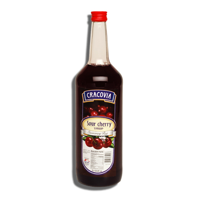 Cracovia Sour Cherry Syrup. 33.81 oz (1l), Product of Poland