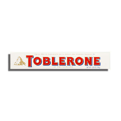 TOBLERONE, WHITE CHOCOLATE WITH HONEY & ALMOND NOUGAT