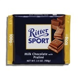 RITTER, MILK CHOCOLATE WITH PRALINE