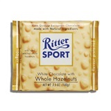 RITTER, WHITE CHOCOLATE WITH WHOLE HAZELNUTS