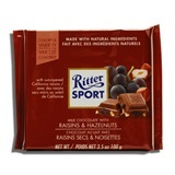 RITTER, MILK CHOCOLATE WITH RAISINS & HAZELNUTS