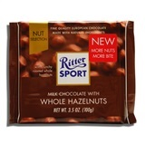 RITTER, MILK CHOCOLATE WITH WHOLE HAZELNUTS