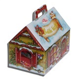 ASSORTED CHRISTMAS CANDY & CHOCOLATE IN A COTTAGE SHAPED BOX